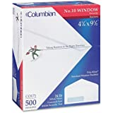 Columbian CO171 (#10) 4-1/8x9-1/2-Inch Poly-Klear Left Window Security Tinted White Envelopes, 500 Count