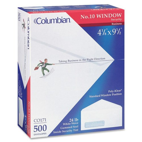 Columbian CO171 (#10) 4-1/8x9-1/2-Inch Poly-Klear Left Window Security Tinted White Envelopes, 500 ()