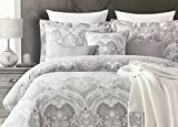 Tahari Home 6 Piece King Comforter Set - Silver and Grey, 100% Cotton Sateen 300 Thread Count