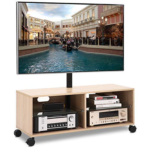 (Rfiver Wood TV Stand Media Console with Mount and Wheels for Most 32 37 40 43 47 50 55 60 65 Inches LED, LCD, OLED and Plasma Flat/Curved Screen TVs, Height Adjustable and Cable Management, Oak TW5001)