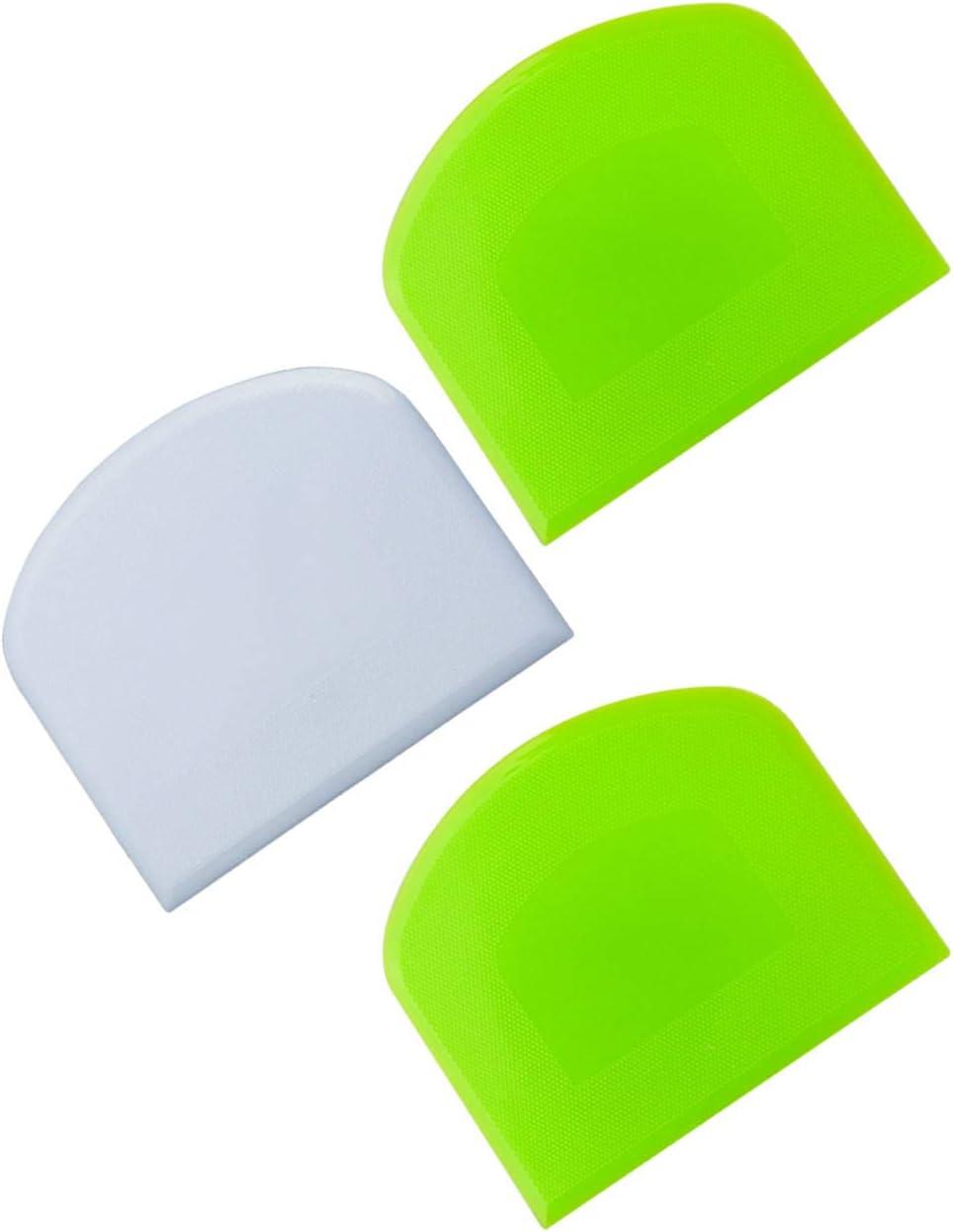3 PCS Dough Scraper Plastic Flexible Bowl Scraper, Food Grade Bench Scraper Plastic Dough Cutter for Ice Cream, Bread, Cake, Fondant, Pizza (Green + White+Green)
