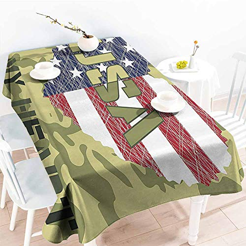 Homrkey Wrinkle Resistant Tablecloth National Heart Shaped American Flag Military and Grunge Style Illustration Art Sage Green and Khaki and Durable W54 xL84 ()