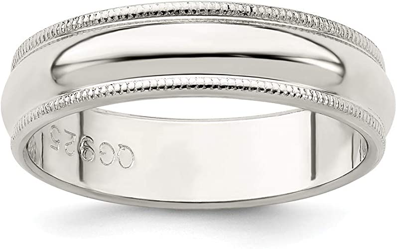 925 Sterling Silver 3mm Half Round Polished Wedding Ring Band Sizes 4-13