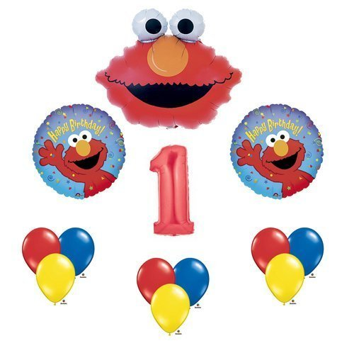 Balloon Sesame Street Balloons (Elmo Sesame Street #1 1st First Birthday Party Supply Balloon Mylar Latex Set)