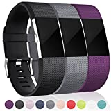 Maledan Replacement Bands for Fitbit Charge 2, Black Gray Plum Small