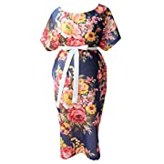 JANA JIRA Maternity Gown Hospital Labor Delivery Breastfeed Mom to Be L/XL Navy Blue Floral