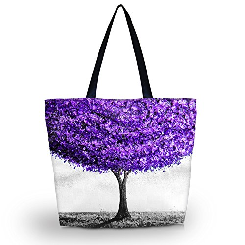 Travel Handbag Women Purple Bag Beach Tote Totes Foldable Tote Waterproof Shopping Bags tree Zippered Overnight for qCEOaEw