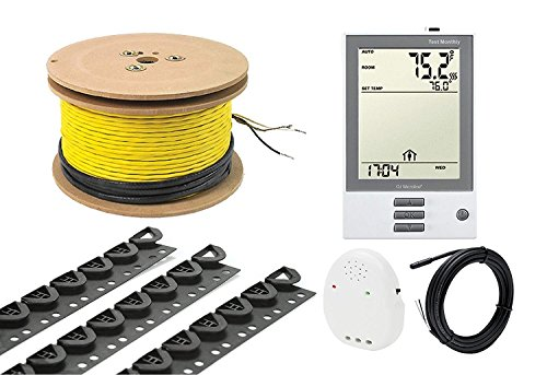 33 Sq.Ft. UDG Floor Heating System, 3.7W 240V Electric Tile Radiant Floor Heating Cable with Programmable Thermostat