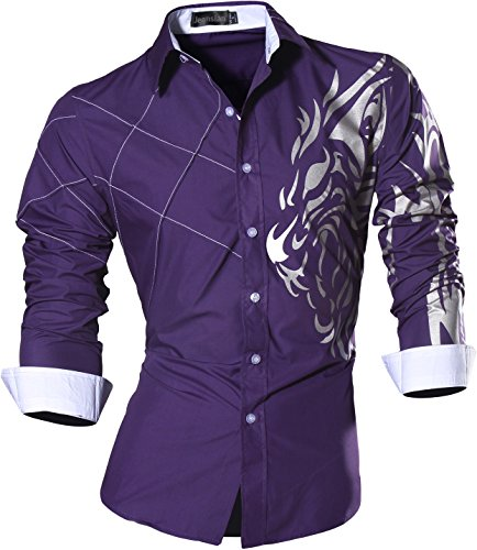 Tattoo Dress - jeansian Men's Slim Loin Tattoo Long Sleeve Dress Shirt Z030 Purple L
