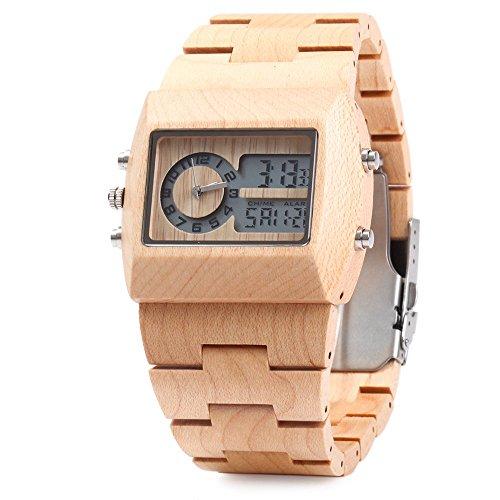 BEWELL ZS-W021A Reloj para Hombre de Cuarzo Madera Bambú con Doble Movimiento Luminosa Visualización(Marrón 1)