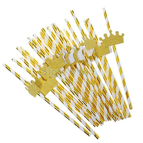AMAZZANG-25Pcs Cute Golden Funny Beach Party Cocktail Juice Drinking Straws Party Décor (golden crown)