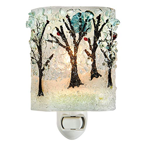 Reborn Glass Four Seasons Night Light: Winter Woods - Hand Made Fused Glass Art Glass Upcycled Bottle Glass Plug ()
