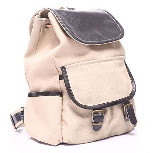 Beige Canvas Leather Handmade Backpack by AnyLeatherDesigns