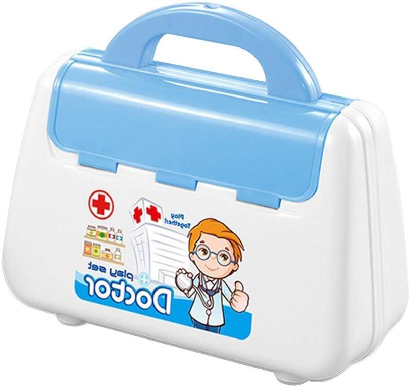 Ganquer 15 Piezas Unisex Set Juguete Infantil Médicos Electrónico Estetoscopio Doctor Kit Simulación - Azul, Free Size