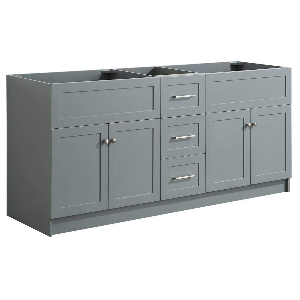 """DKB Bradford Series 72"""" Inch Bathroom Base Cabinet in Grey ..."""