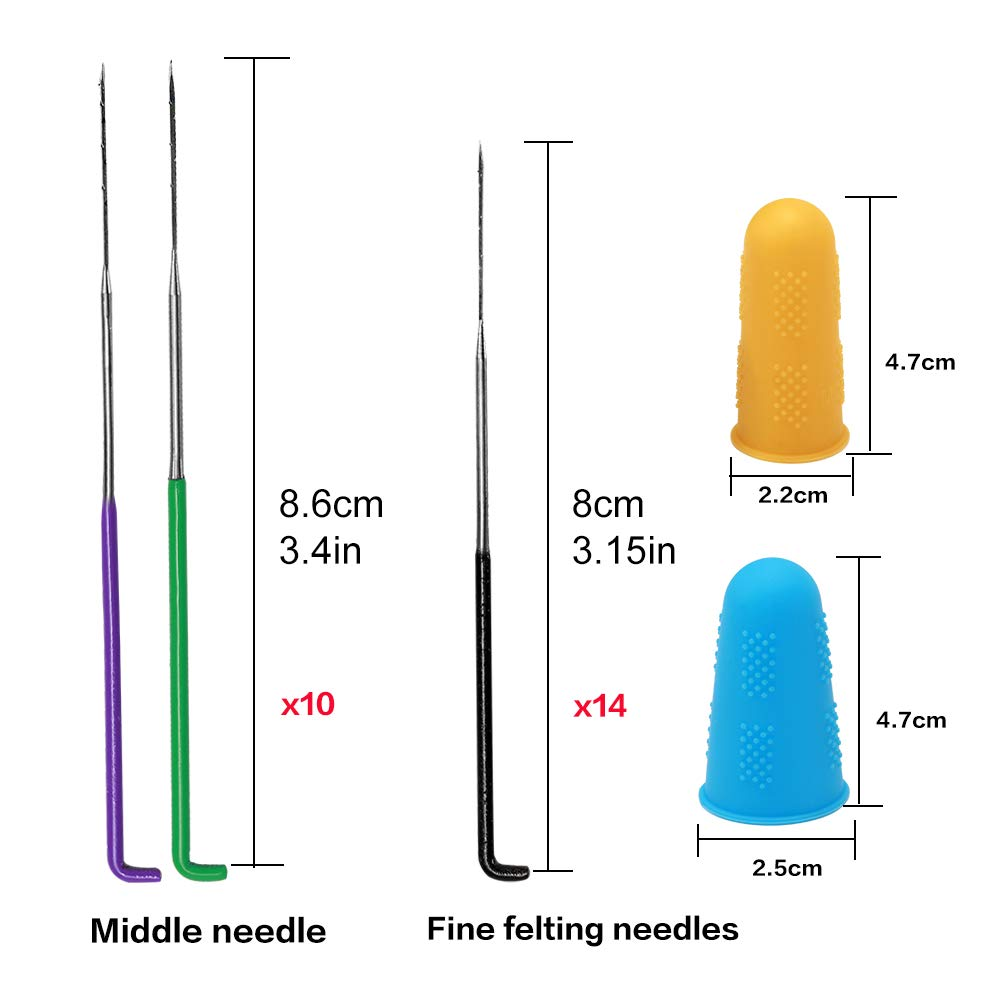 3 Color Coded Wool Felting Needles Tool Wool Pin Felting Supplies with Fingercots BUTUZE 34 Pieces Felting Needles Great for DIY Felting Wool Projects