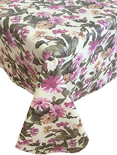 Country Cottage Bouquet Flannel Backed Heavy Gauge Vinyl Tablecloth, Indoor/Outdoor Use, (60 Inch x 120 Inch Oblong/Rectangle)