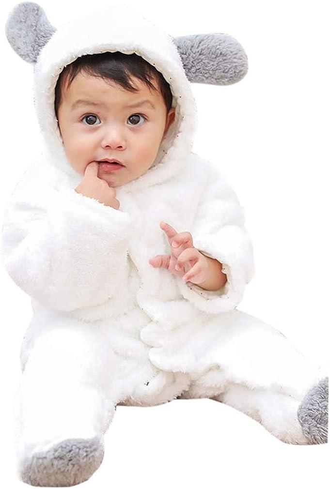 Baby Rompers Newborn Girls Boys Animals Zipper Hooded Jumpsuit Autumn Winter Flannel Clothing Unisex