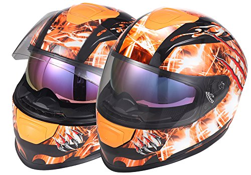 OSNICH Japanese Anime Full Face Motorcycle ATV Street Bike Helmet 833 Furious (Adult and Youth Sizes, DOT Certified)