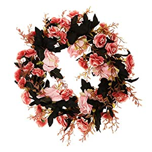 Fityle Shabby Chic Silk Rose Flower Mirror Wall Door Wreath Ring Trim Wedding Rattan Leaves Blossom Garland 2