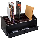 17' - 31 Slot Wooden Bill/Letter Organizer With Drawer - Black BY JUMBL