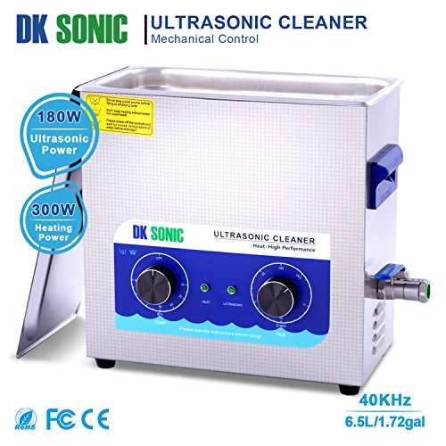Large Ultrasonic Gun Cleaner Heated - DK SONIC 6L 180W Ultrasonic Parts Cleaner with Heater Basket for Retainer Jewelry Carburetor Eyeglass Ring Fuel Injector Glasses Record Circuit Board 40KHz by DK SONIC (Image #1)