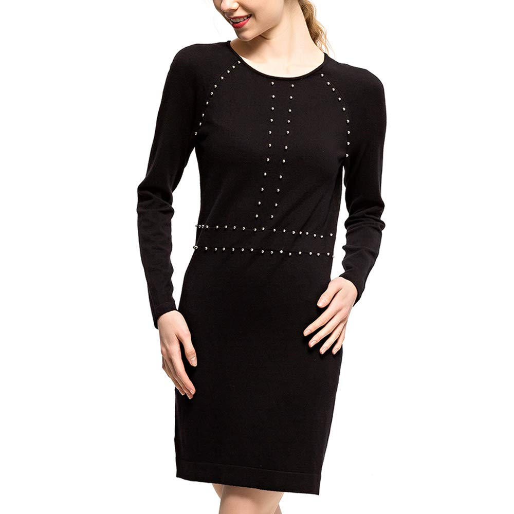 CIZITZZ Women's Sweater Dress Casual Basic Pencil Dress Long Sleeve Bodycon Midi Club Dress Black