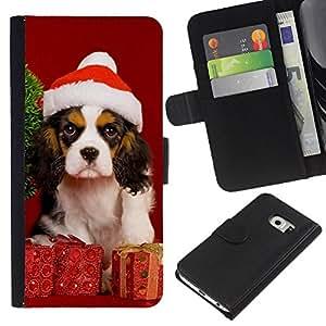 LECELL--Cuero de la tarjeta la carpeta del tirón Smartphone Slots Protección Holder For Samsung Galaxy S6 EDGE -- Navidad del perro de perrito --