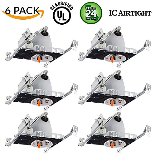 6 Pack 4 New Construction LED Can Air Tight IC Housing LED Recessed Lighting