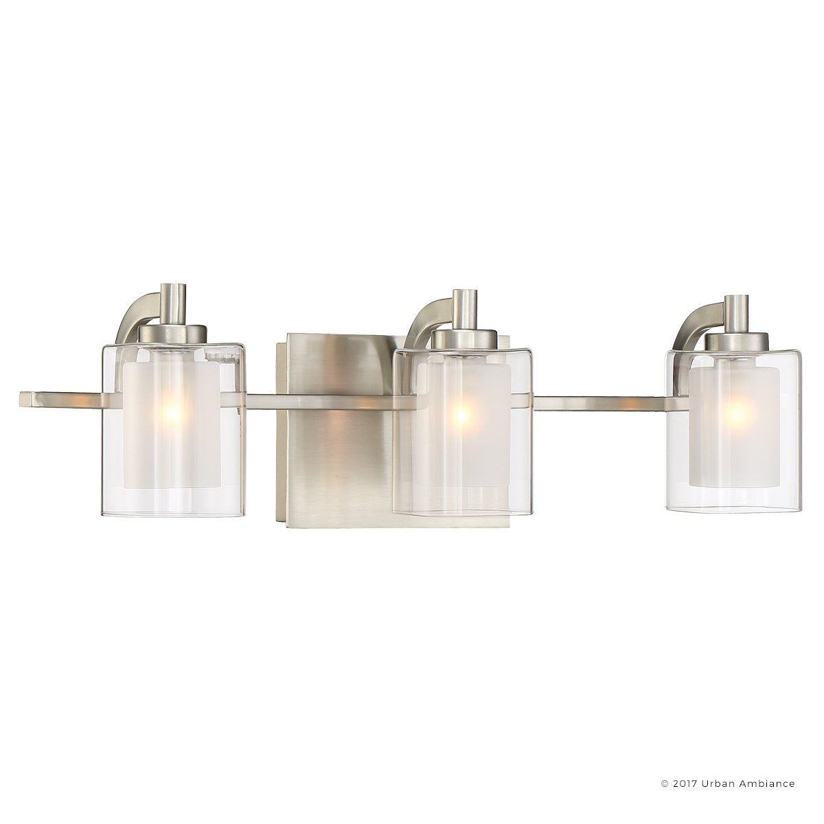 Luxury Modern Bathroom Vanity Light, Medium Size: 6''H x 21''W, with Posh Style Elements, Brushed Nickel Finish and Sand Blasted Inner, Clear Outer Glass, G9 LED Technology, UQL2403 by Urban Ambiance