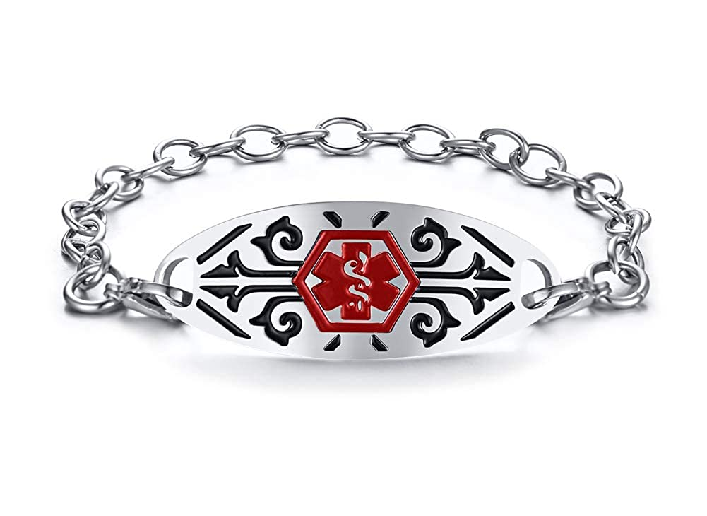 Custom Engraving Stainless Steel Filigree Medical Alert ID Bracelet for Men Women Red Medical Cross Mealguet MG--BR--572SR--KZ