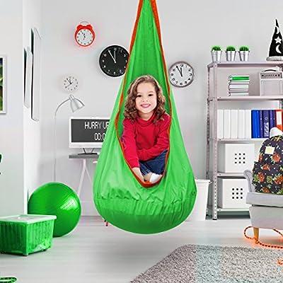 Sorbus Kids Pod Swing Chair Nook - Hanging Seat Hammock Nest for Indoor and Outdoor Use – Great for Children, All Accessories Included (Nook Orange): Garden & Outdoor