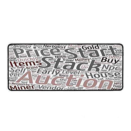 Video Game Non Slip Mouse Pad,Your Warcraft Noob Gold Guide Text Wordcloud Concept at Role Playing Game for Laptop Computer & PC,15.75''Wx35.43''Lx0.12''H -