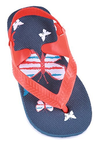 Girls Kids Sand Rocks Butterfly Print Summer Flip Flops Navy or White