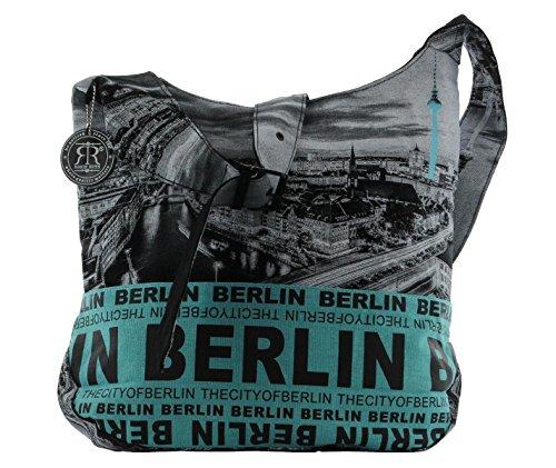 Robin Ruth Canvas Umhängetasche BERLIN Foto in schwarz/neon blau (Maße: LxHxT 36x41x12 cm)