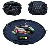 #8: ZDU Cosmetic Makeup Bag Toiletry Kit Organizer Large Capacity Lazy Pouch Multifunction Storage Waterproof Travel Bag with Zipper and Drawstrings Brush Holder