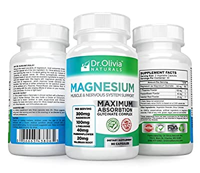 Dr Olivia Naturals Stress & Sleep Support Formula w/ Magnesium Glycinate Chelate, L-Theanine, Passionflower and Valerian Root [90 Capsules]