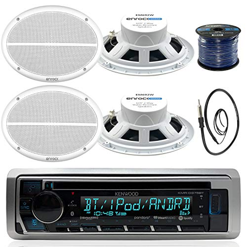 Kenwood KMR-D372BT in-Dash Marine Boat Audio Bluetooth CD Player Receiver Bundle Combo with 4X 500 Watts 6X9-Inch 2-Way Marine White Coaxial Speakers, Radio Antenna, 16g 50ft Marine Speaker Wire