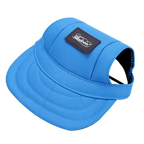 (ITODA Dog Pet Hat Baseball Sun Visor Protection Sport Funny Doggy Cap with Ear Holes and Adjustable Windproof Neck Chin Strap for Outdoor Travel)