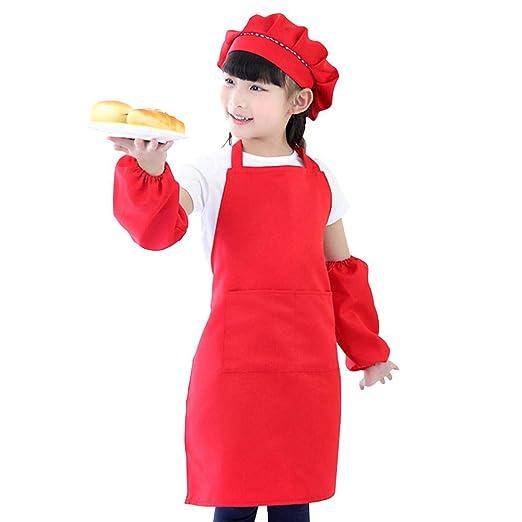FOONEE Delantal para niños y Conjunto de Gorro de Cocinero ...