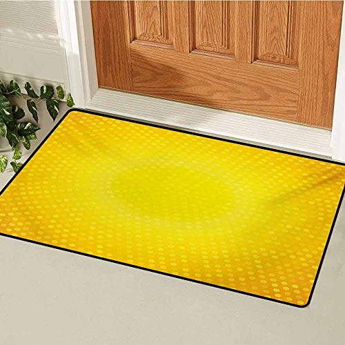 GUUVOR Yellow Commercial Grade Entrance mat Illustration Artwork with Ombre Style Circle in Shades of Yellow Dots for entrances garages patios W35.4 x L47.2 Inch White Yellow and Merigold