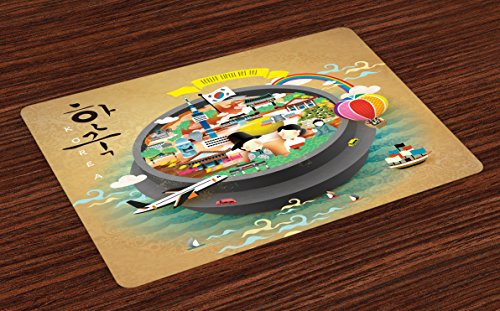 Ambesonne Korea Place Mats Set of 4, Traditional South Korean Motifs Inside a Khimchi Hot Pot Tourist Attractions Cartoon, Washable Fabric Placemats for Dining Table, Standard Size, Beige Green