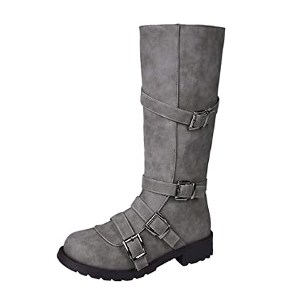 1b64f61b746 Image Unavailable. Image not available for. Color  Womens Knee High Mid  Calf Boot Faux Leather Buckle Straps Winter Snow Boot Flat Shoes Ladies