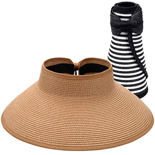 Maylisacc 2 Pack Foldable Beach Hat for Women Roll Up Straw Sun Visor Hats Open Top Khaki&Blackstripe