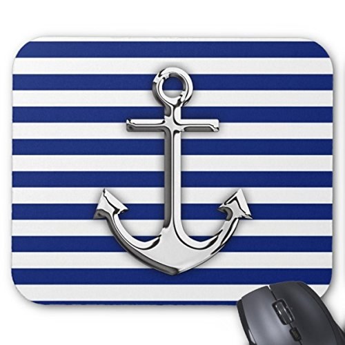 Starings Mouse Pads Chrome Like Anchor Design on Navy Stripes Mouse Mat ()