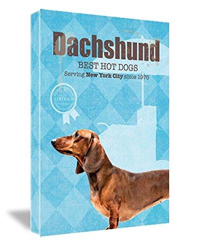 FRAMED CANVAS PRINT Dachshund Hot Dog Co. Cute Vintage Dog Print 16''W x 22