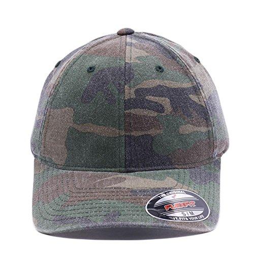 Acornfit 6977CA Flexfit Garment Washed Camo Hats Baseball Camouflage Caps (L/XL, Green)