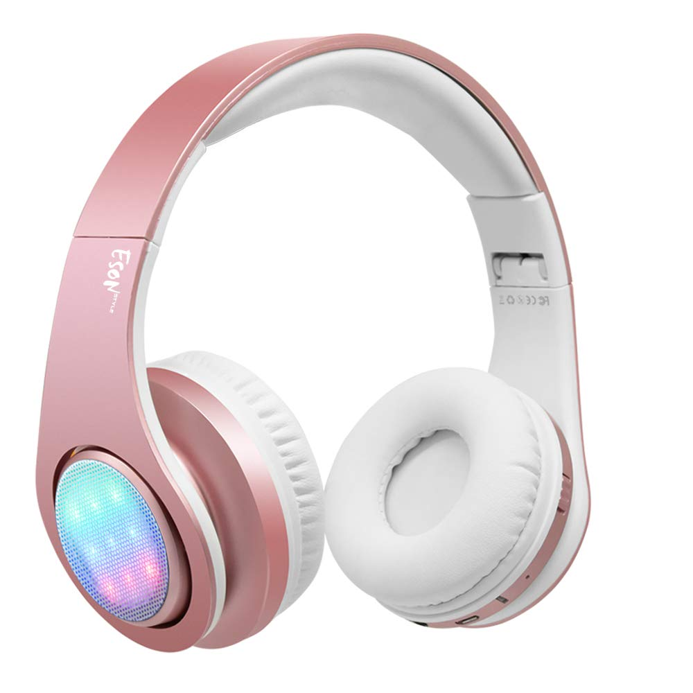 Esonstyle Bluetooth Headphone with 3 Led Light Mode Stereo Music Foldable Over-Ear HiFi Sound Built in Mircophone Hands-Free Wireless Calling for Smartphone,Tablet,PC,MAC and Laptop Rose Gold