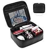 Makeup Bag NiceEbag Travel Cosmetic Bag for Women and Men Cute Makeup Case Leather Cosmetic Case with Adjustable Padded Dividers for Cosmetics Make Up Tools Toiletry Jewelry,Black