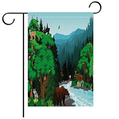 - Custom Personalized Garden flag Outdoor flag Cabin Decor Evening in Beautiful Mountains Forest with Animals Cold River Illustration Decorative Deck, patio, Porch, Balcony Backyard, Garden or Lawn